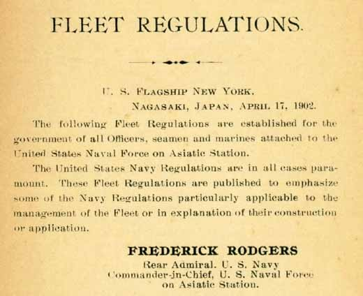 """Fleet Regulations. U.S. Flagship New York. Nagasaki, Japan, April 17, 1902."