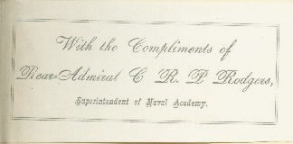 "Presentation slip from Rear Admiral C. R. P. Rodgers tipped in ahead of the front flyleaf : ""With the compliments  of Rear-Admiral C.R.P. Rodgers, Superintendent of Naval Academy."""