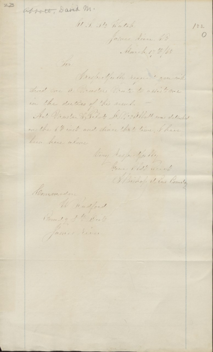 Abbott, David M - Letter to Commodore W Radford 1865_front