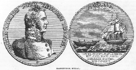 "Captain William Bainbridge, USN, Commanding Officer of USS Constitution. Engraving of the medal authorized by the United States Congress in honor of Captain Bainbridge's 29 December 1812 victory in the battle between USS Constitution and HMS Java. A gold version of the medal was struck for Bainbridge and a silver one for each of Constitution's other commissioned officers. The engraving was published in Lossing's ""Field Book, War of 1812"", page 463. Naval Historical Center Photographic Section: Photo #: NH 1391."