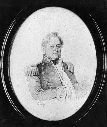 Commodore Isaac Hull, USN. Pencil sketch by L. Pellegrin, 1841, when Hull was commanding the Mediterranean Squadron. Courtesy of Mrs. Lee P. Johnson. U.S. Naval Historical Center Photograph. Photo #: NH 61159.