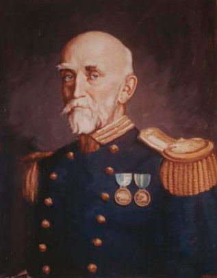 Painting - Rear Admiral Alfred T. Mahan, artist: H. Peterson after Alexander James. Naval History and Heritage Command, Photographic Section, NH64579KN.