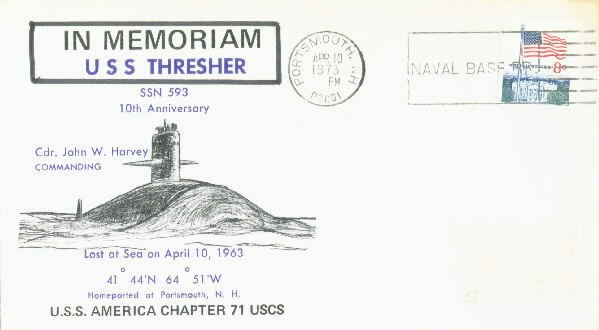 Image of USS Thresher envelope with memoriam cancellation
