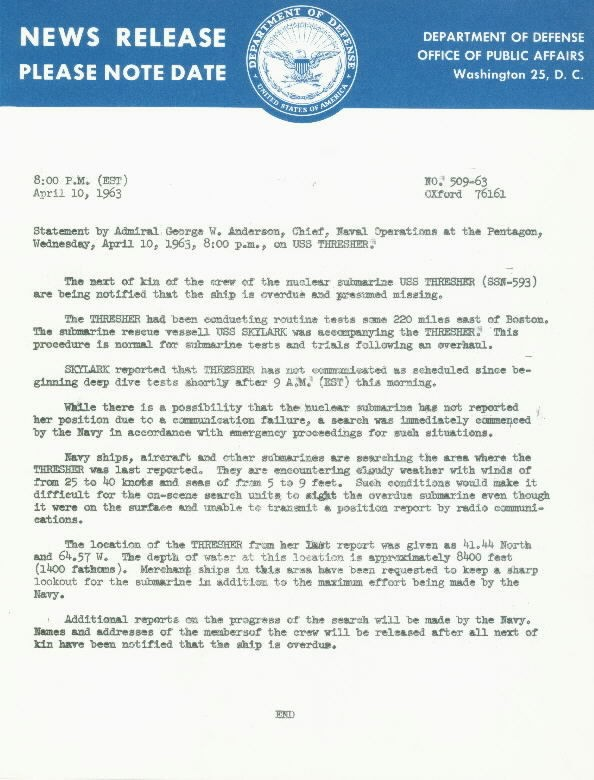 Image of USS Thresher News Release 10 April 1963