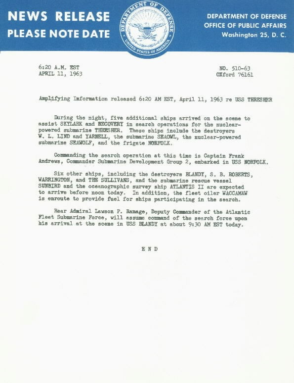 Image of USS Thresher News Release 11 April 1963