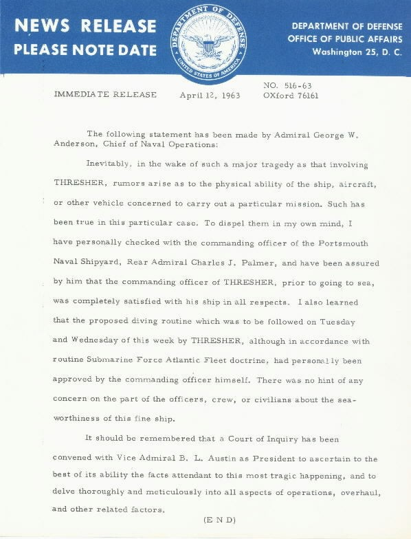 Image of USS Thresher News Release 12 April 1963