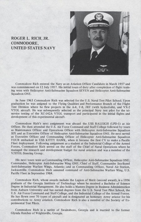 Biography of Commodore Roger L. Rich, Jr., United States Navy.