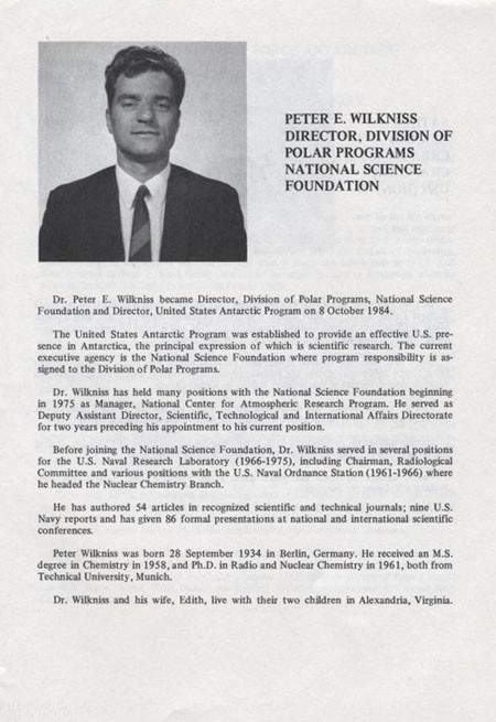 Biography of Peter E. Wilkniss, Director, Division Of Polar Programs National Science Foundation.