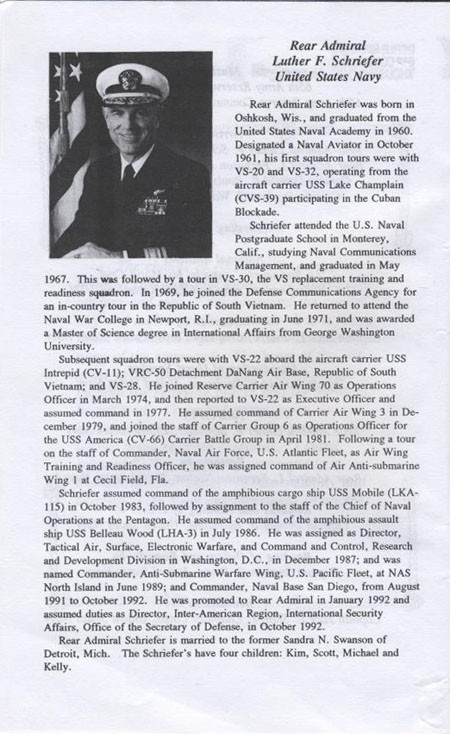 Biography of Rear Admiral Luther F. Schriefer, United States Navy.