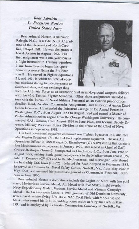 Biography of Rear Admiral L. Ferguson Norton, United States Navy.