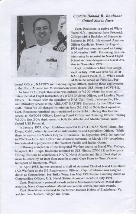 Biography of Captain Donald B. Roulstone, United States Navy.