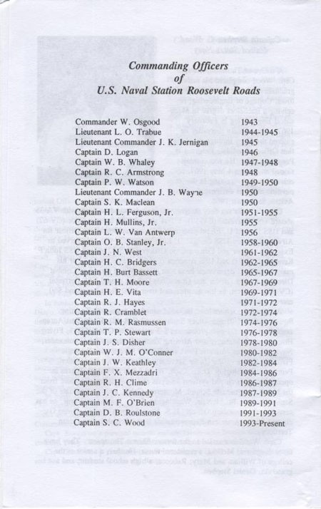 List of Commanding Officers of U.S. Naval Station Roosevelt Roads.