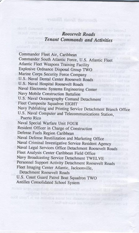Roosevelt Roads Tenant Commands and Activities.