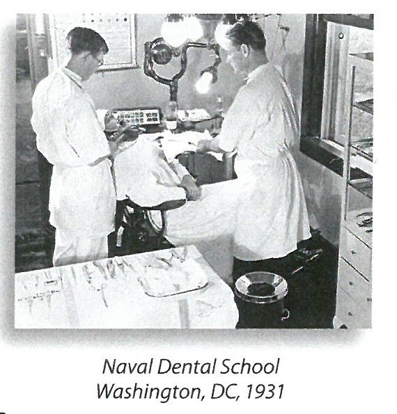 jpeg photo showing two students working on a patient at the Naval Dental School; Washington, DC, 1931