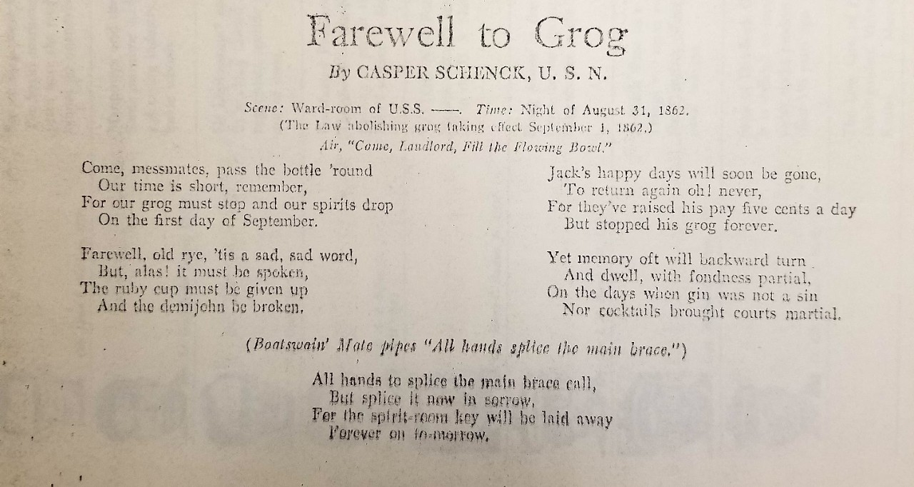 "photo of the verse: ""Farewell to Grog"" by Casper Schenck, U.S.N. found in the Navy Department Library's Rare Book Room  ZV file"
