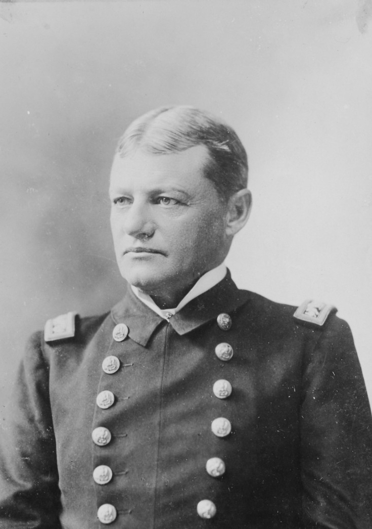 A photograph of Captain Robley D. Evans who was the commander of the Iowa.