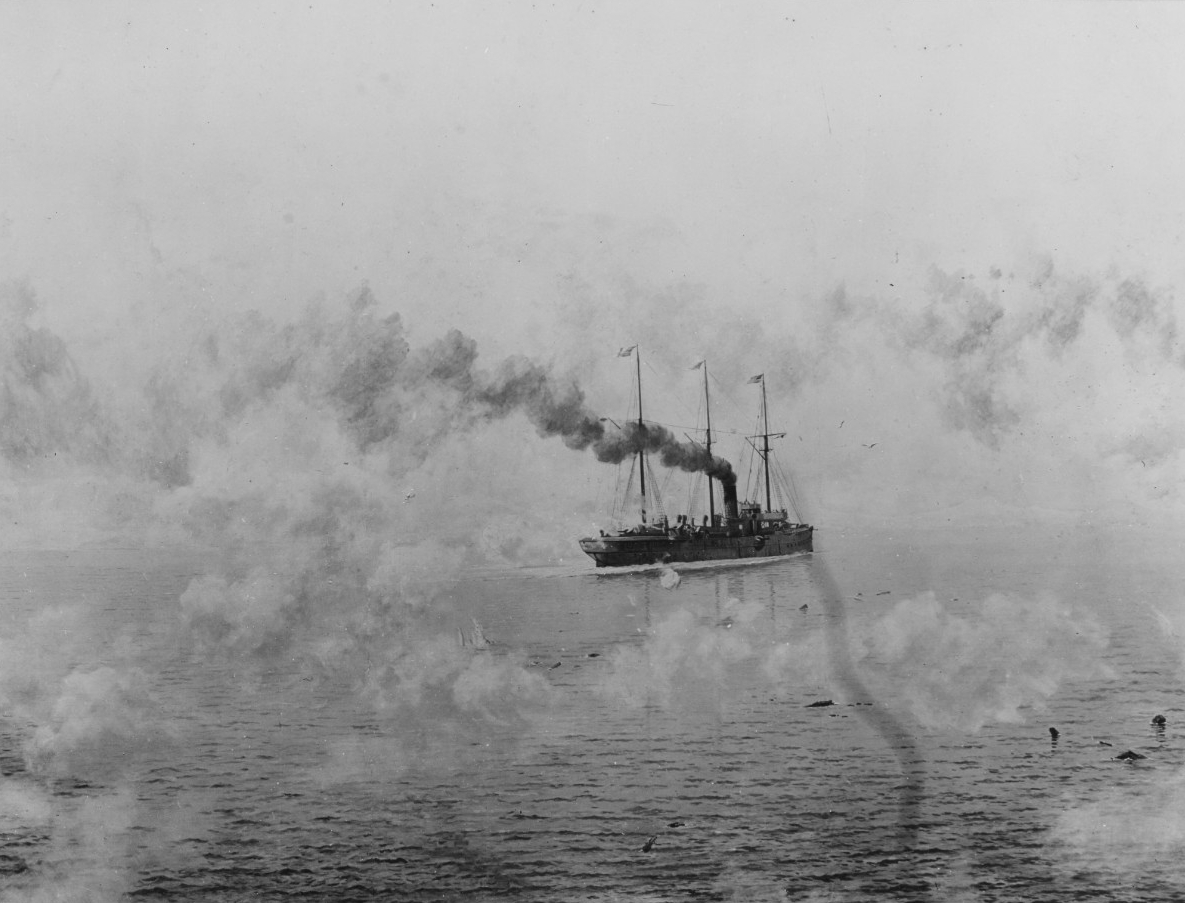 A picture of the USS Concord under full steam.