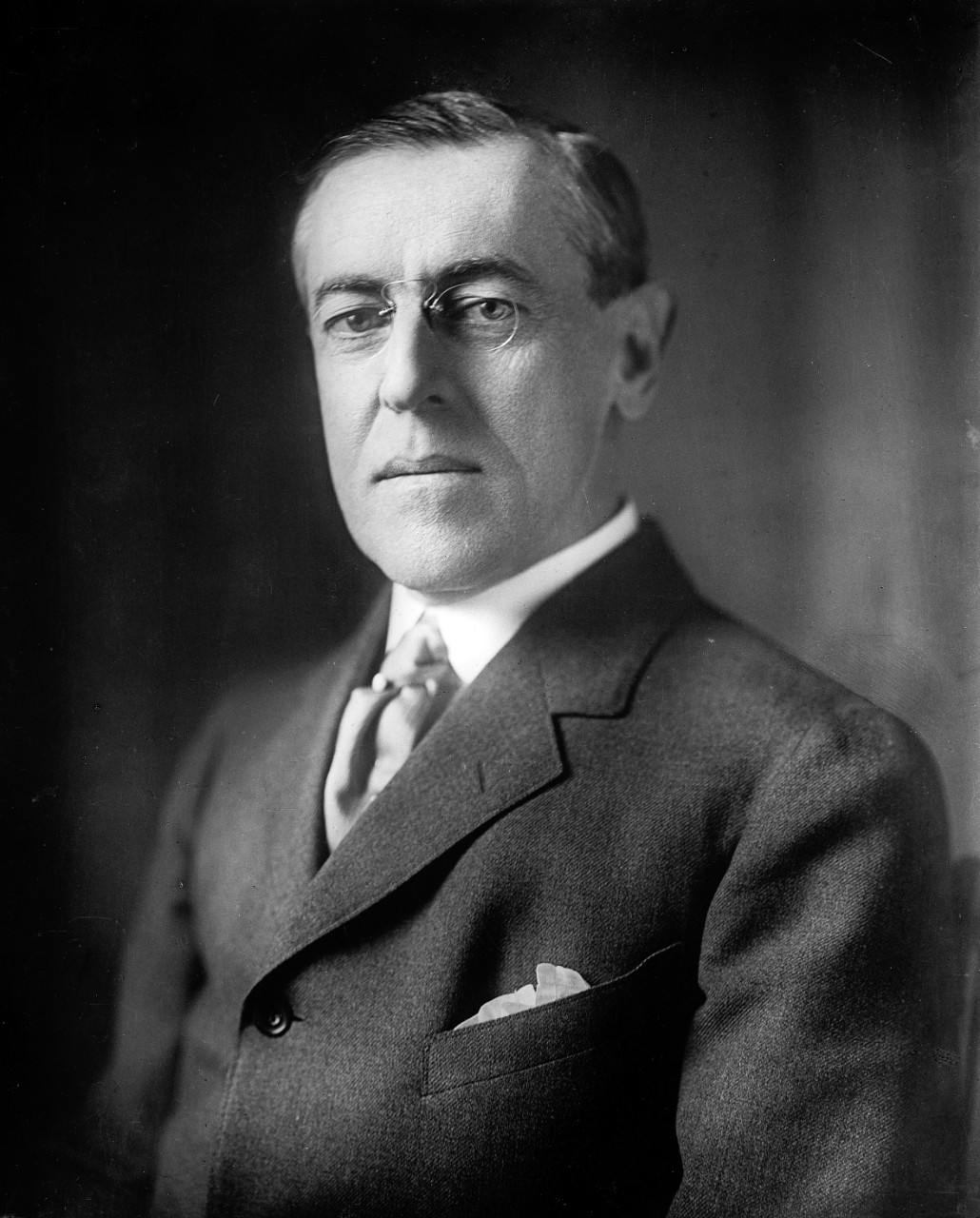A portrait of Woodrow Wilson who was the U.S. president during World War One.
