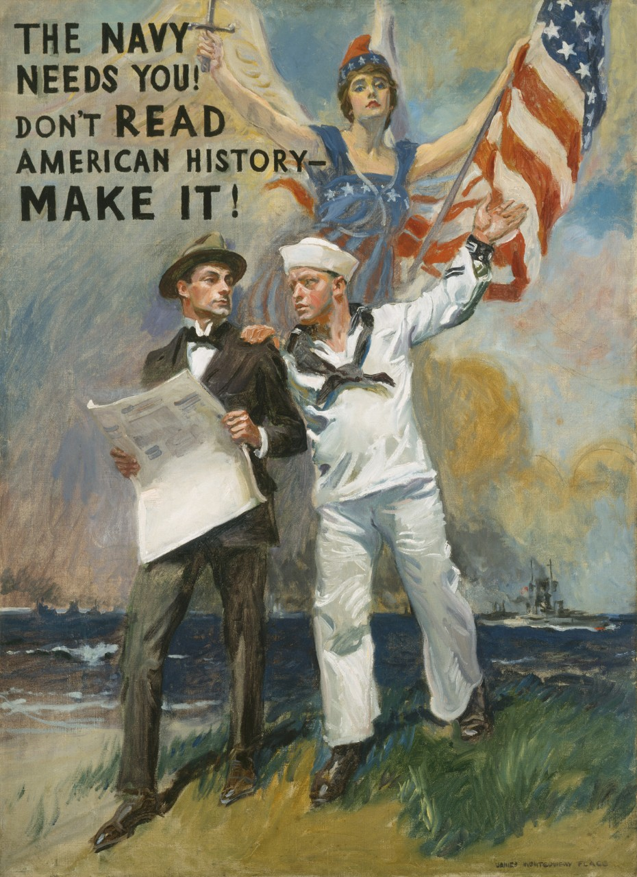 "A man in civilian clothes holds a newspaper. The sailor next to him has his hand on the first man's shoulder. Behind them is a ghostly female figure dressed in the American flag.  Upper left it says ""The Navy Needs You Don't Read American History – Make It!"""