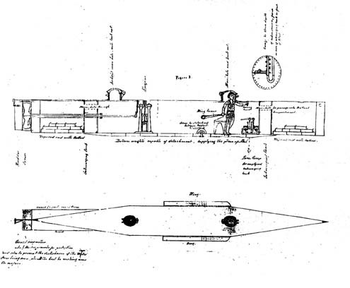 "Figure 2.Another of the PRO drawings, this one showing the internal plan view of the boat and a transverse cross-section at the aft face of the forward bulkhead. ""The pilot is represented looking through a bull's eye, his right hand on the vertical steering control, and his left on the lever for working an ordinary stern rudder... The depth being constantly indicated on an ordinary mercurial syphon gauge fixed immediately opposite the pilot--one end of which is open to the outside water--each 1/2 inch of mercury represents about one foot of immersion."" (PRO Adm. Ser. 1/6236, File 39455)"