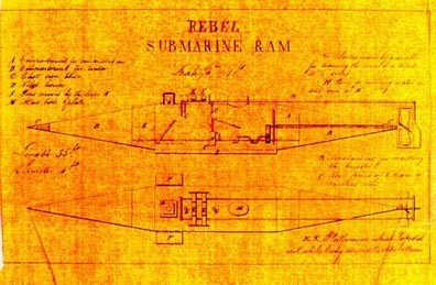 "Figure 3. The ""Rebel Submarine Ram ""documented by Lieutenants Colin and Baird. It is undoubtedly the Confederate Privateer Pioneer. This drawing and its accompanying documentation, uncovered by researcher Mark Ragan, provides definitive proof that the Louisiana State Museum vessel is not McClintock and Watson's privateer Pioneer, as previously thought by some."