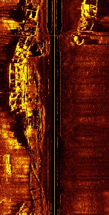 Figure 2: A side-scan sonar record of the American Mulberry Group at St-Laurent-sur-Mer.