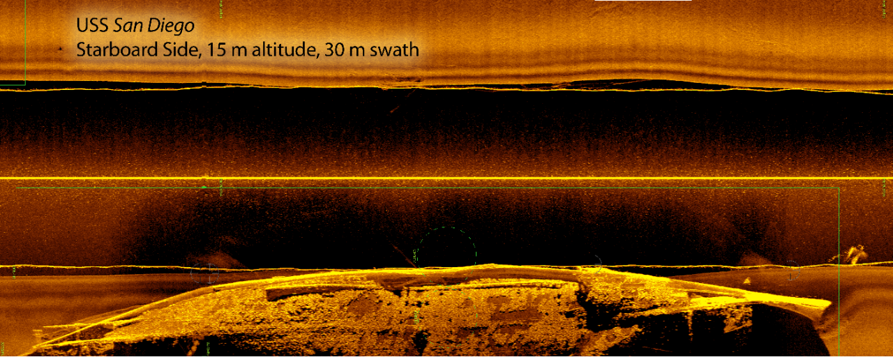 Sidescan sonar mosaic of USS San Diego shipwreck, taken from an altitude of 15 meters off the seabed, with a swath of 30 meters.
