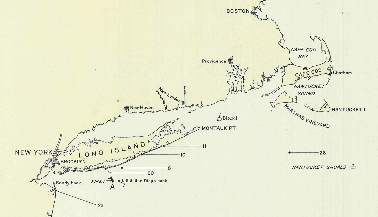 Map showing locations of mines found along the southern coast of Long Island, New York, during World War One.