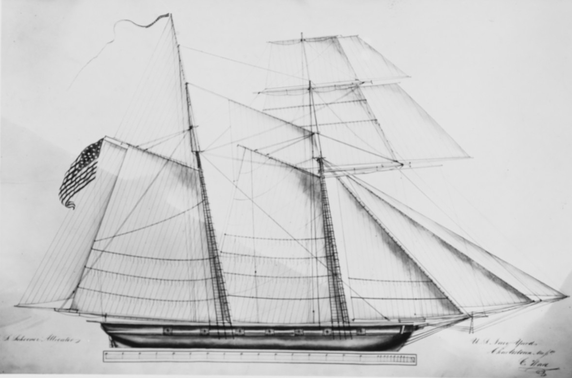 Drawing of spars and sails on USS Alligator